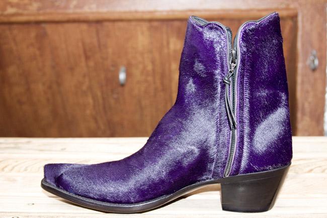 Purple hair on hide fall cowboy boot