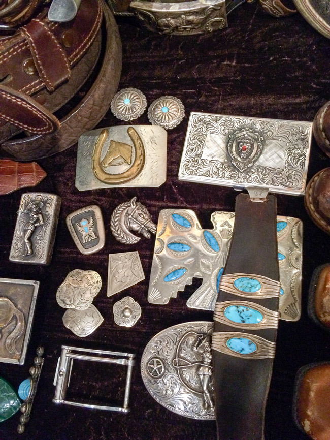 Turquoise and silver western vintage jewelry