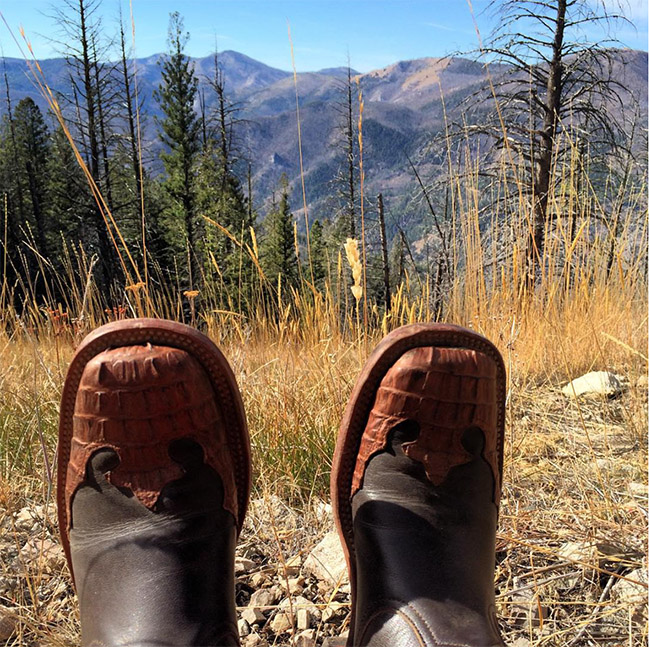 Anderson Bean cowboy boots in the mountains