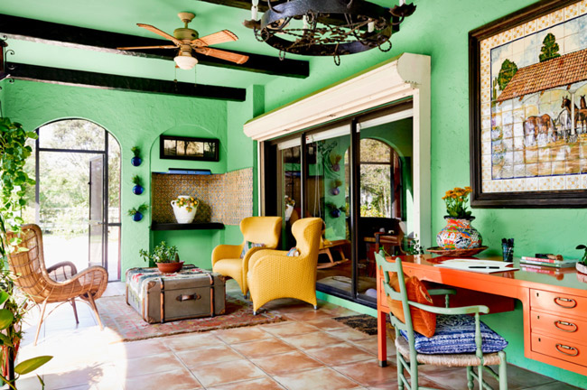 Bright green walls and tile floor