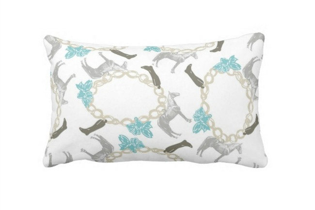 Charmed Equestrian Print Pillow in Tiffany Bow