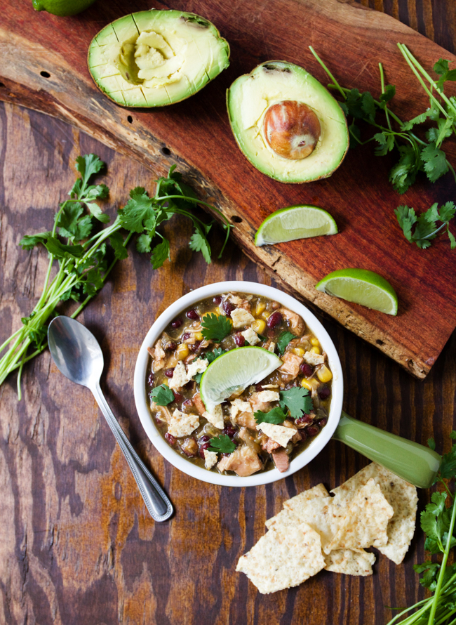 Crockpot Verde Chicken Chili, great with lime, cilantro, avocado and chips