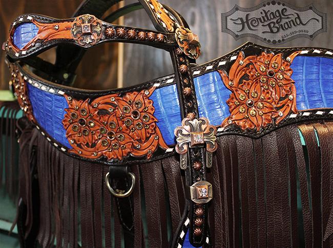Heritage Brand blue fringe headstall