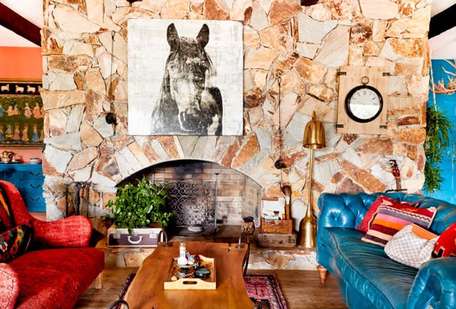 Large horse art in the eclectic living room