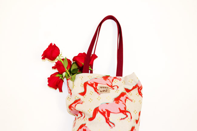 Pink Mustang Pony Print Tote
