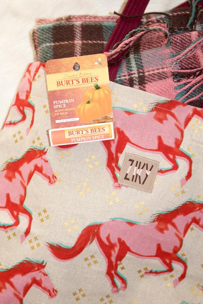 Pumpkin spice lip balm, plaid and a fall hat