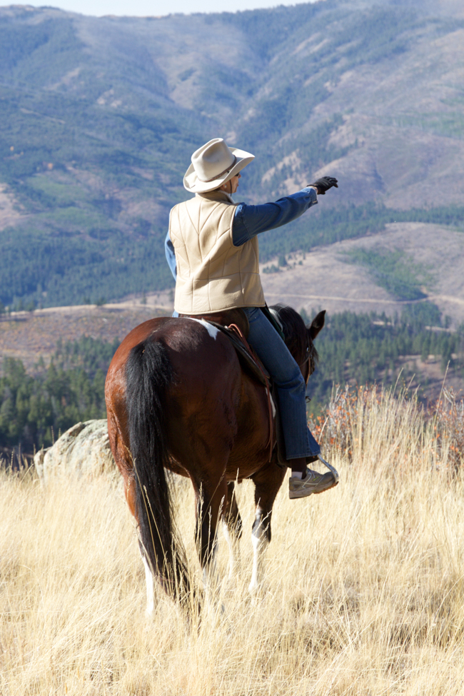 Triple Creek Ranch owner Barbara Barrett on a ride