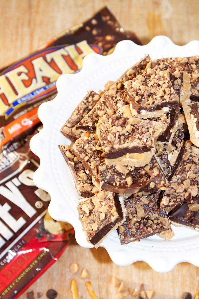 4 Ingredient Dark Chocolate Peanut Butter Toffee Bark