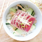 Ahi tuna rice bowls are healthy and delicious