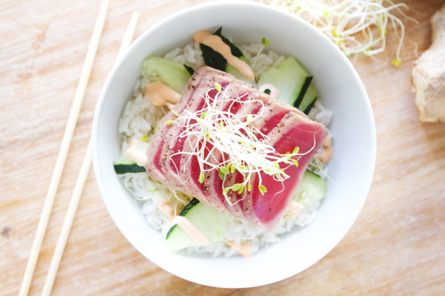 Ahi Tuna Bowls with Rice for Two