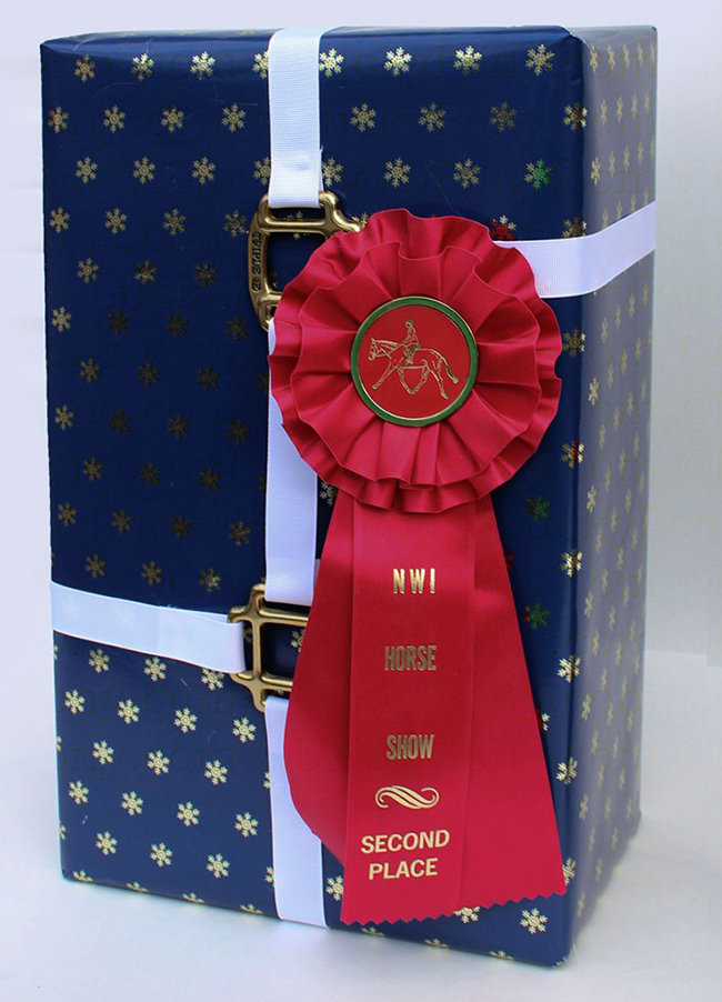 Equestrian wrapped present with halter hardware and a ribbon