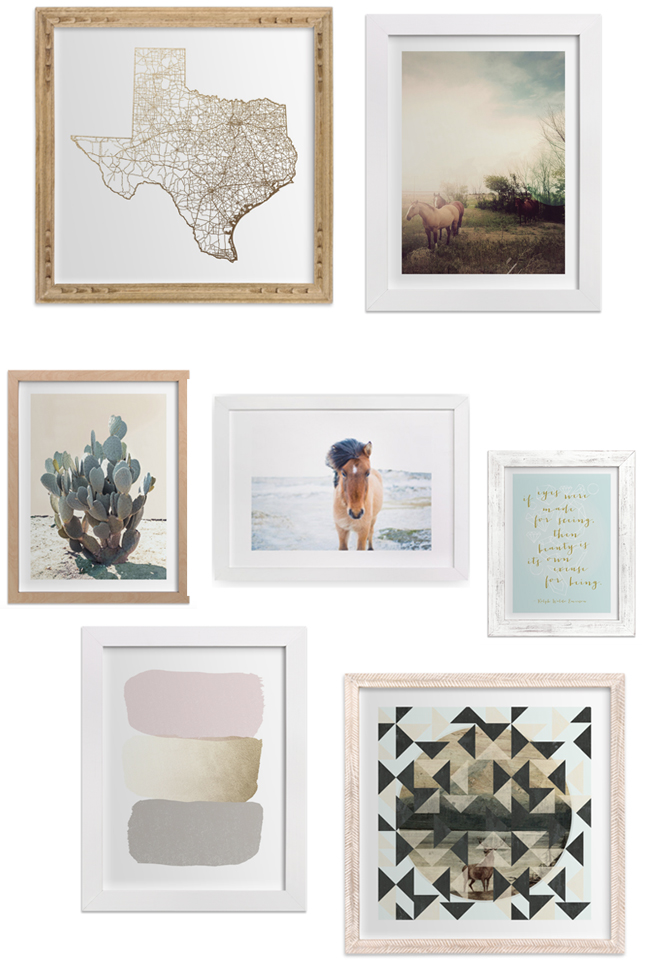 How to create the perfect art gallery wall. Mix and match frames and stick with a the same color scheme