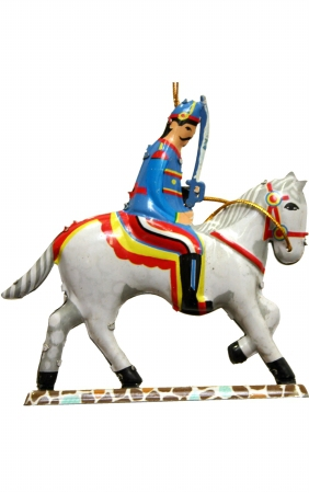 Soldier on horse tin ornament