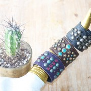 Sweet Antics Collection leather and crystal cuffs