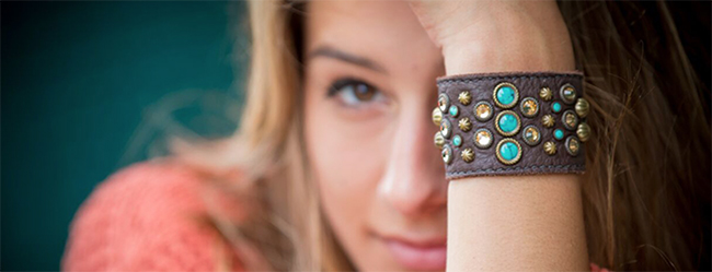 Sweet Antics brown leather and turquoise cuff