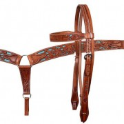 Buck Yeah brown and turquoise leather tack