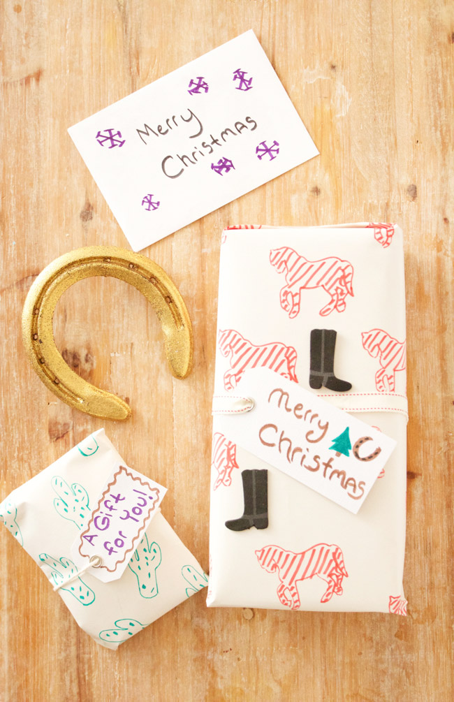 DIY holiday wrapping paper is easy to make and adds a personal touch