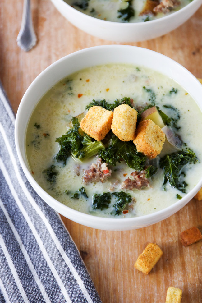 Easy and delicious spicy sausage and kale soup is a great winter meal