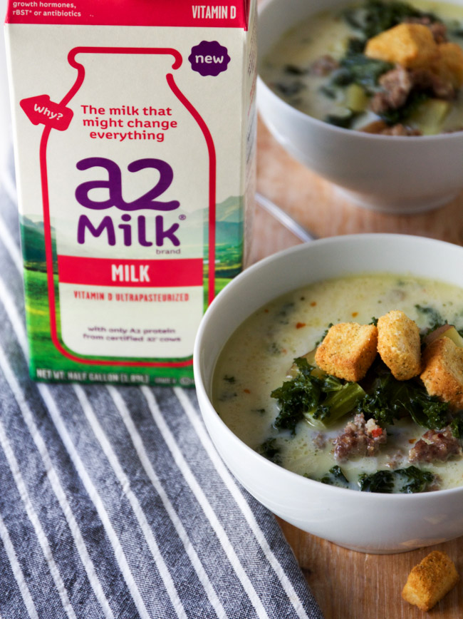Spicy Sausage and Kale Soup made with a2 milk