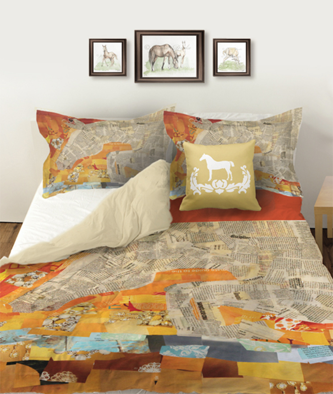 Horse collage duvet and shams