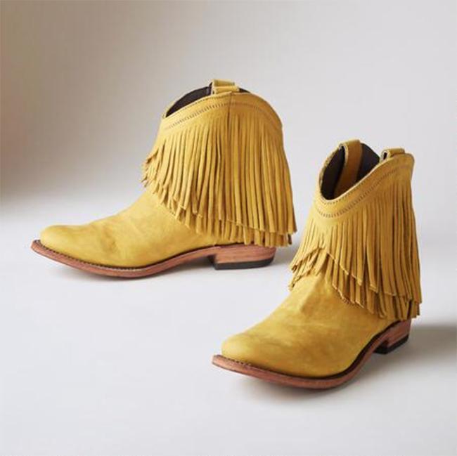 Liberty Black yellow fringe Santa fe boots