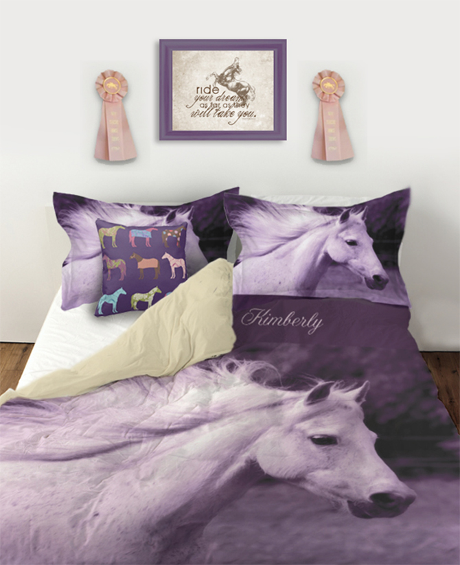 Purple horse personalized duvet cover