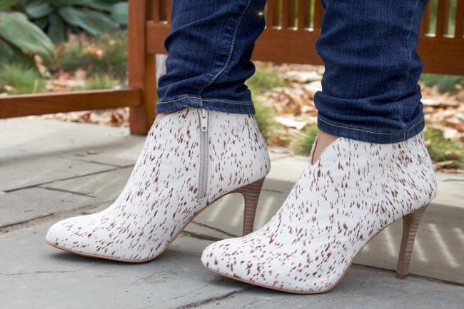 Cowhide Heels: Sarla Booties