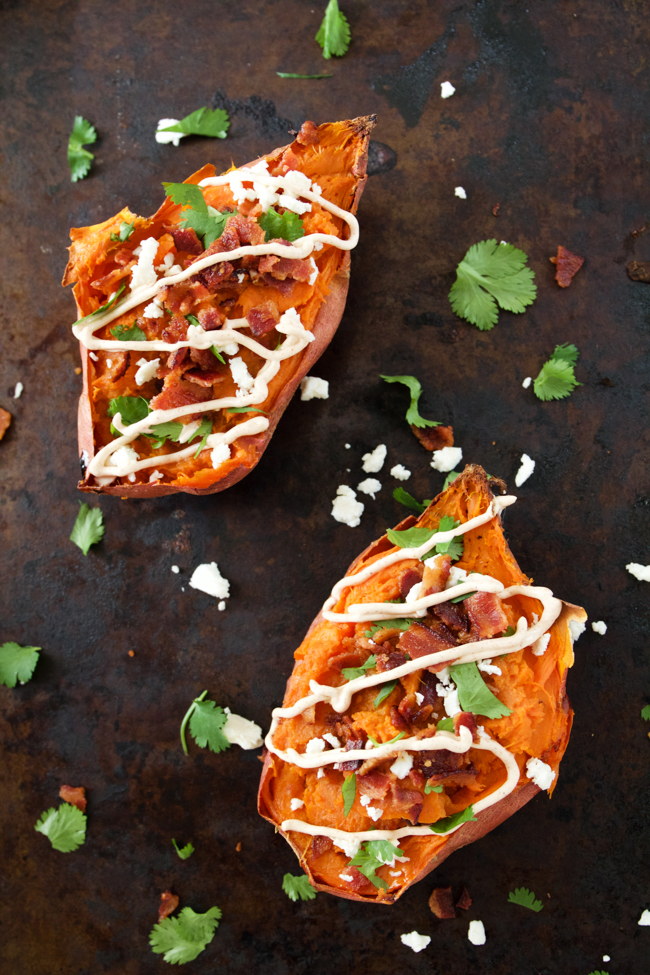 Twice Baked Sweet potatoes with chipotle, bacon, cilantro, sour cream