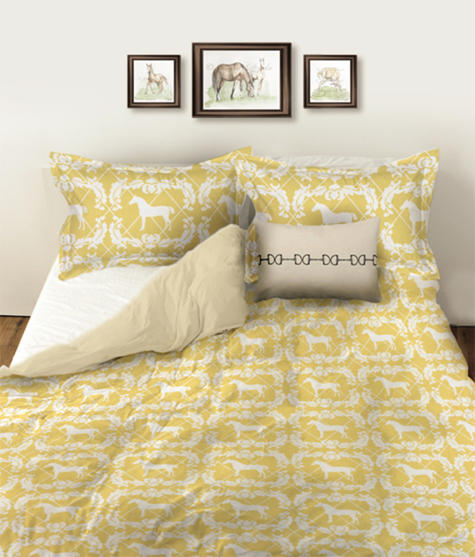 Yellow Damask Horse Print Duvet