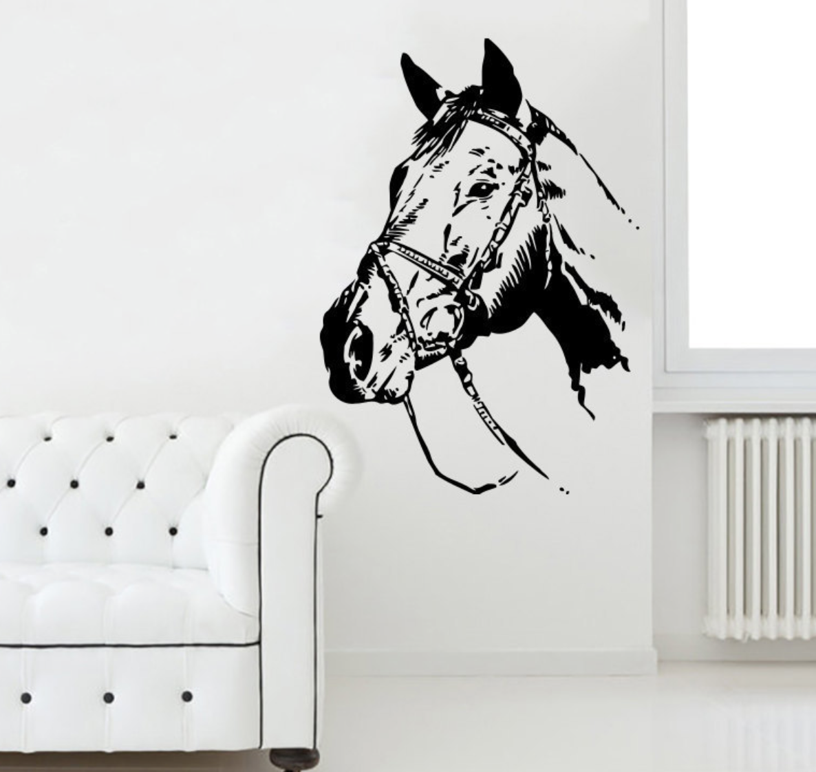 Vintage Black horse head decal