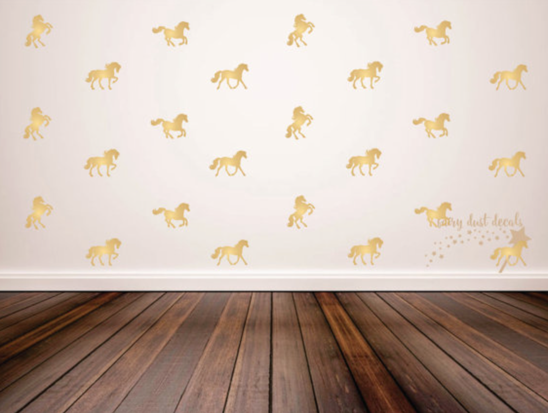 Gold horse decals