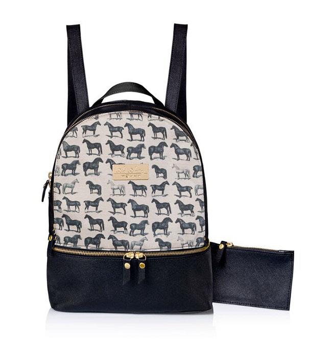 Horse print black backpack