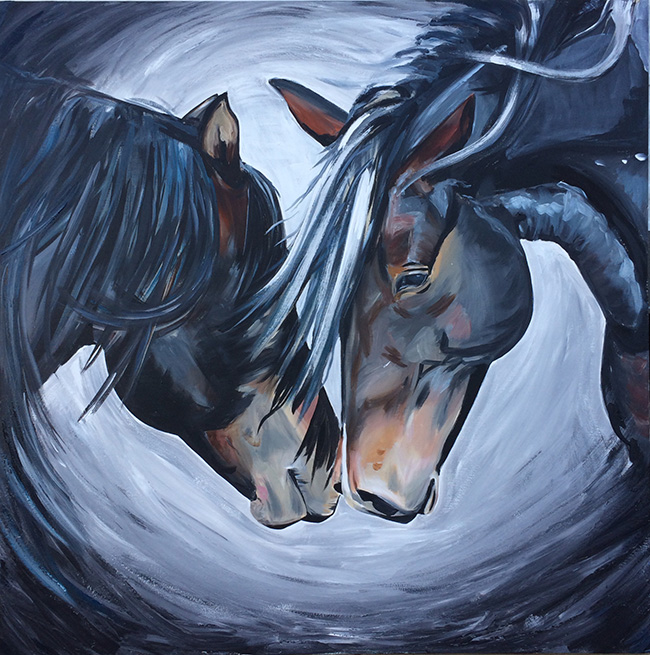 Lean In, a horse painting by Alana Clumeck