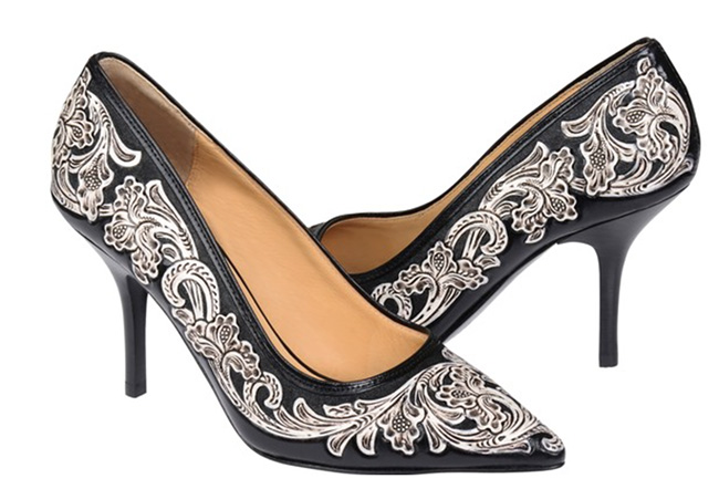 Lucchese Sadie heel in black and white