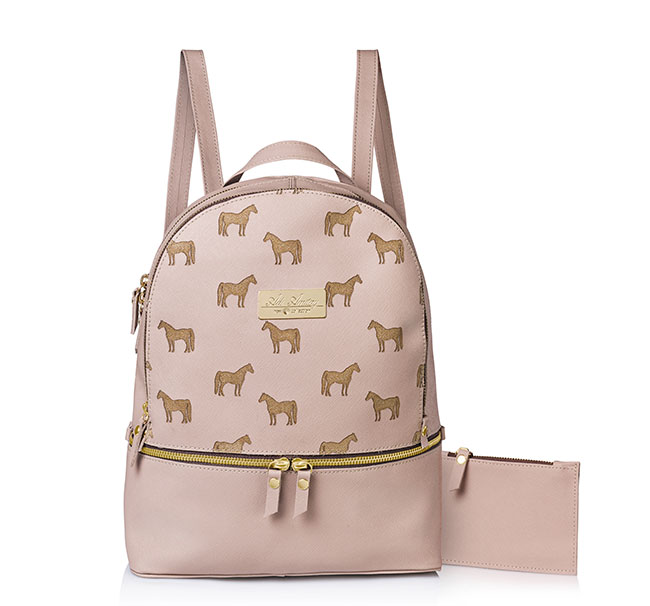 Pink leather horse print backpack