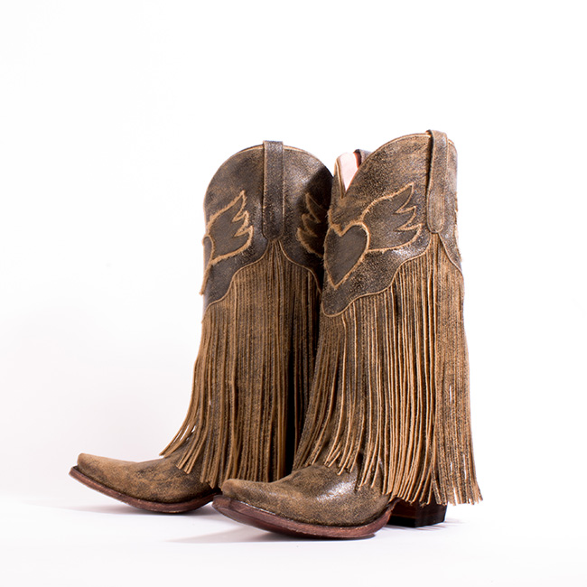 Brown fringe Dreamer boots by Junk Gypsy