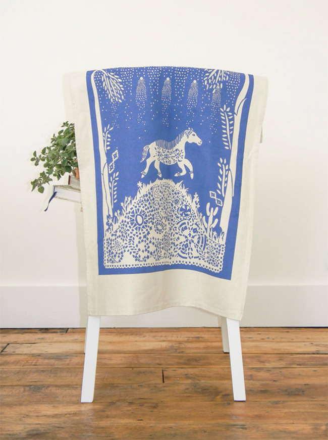 Cobalt blue horse tea towel