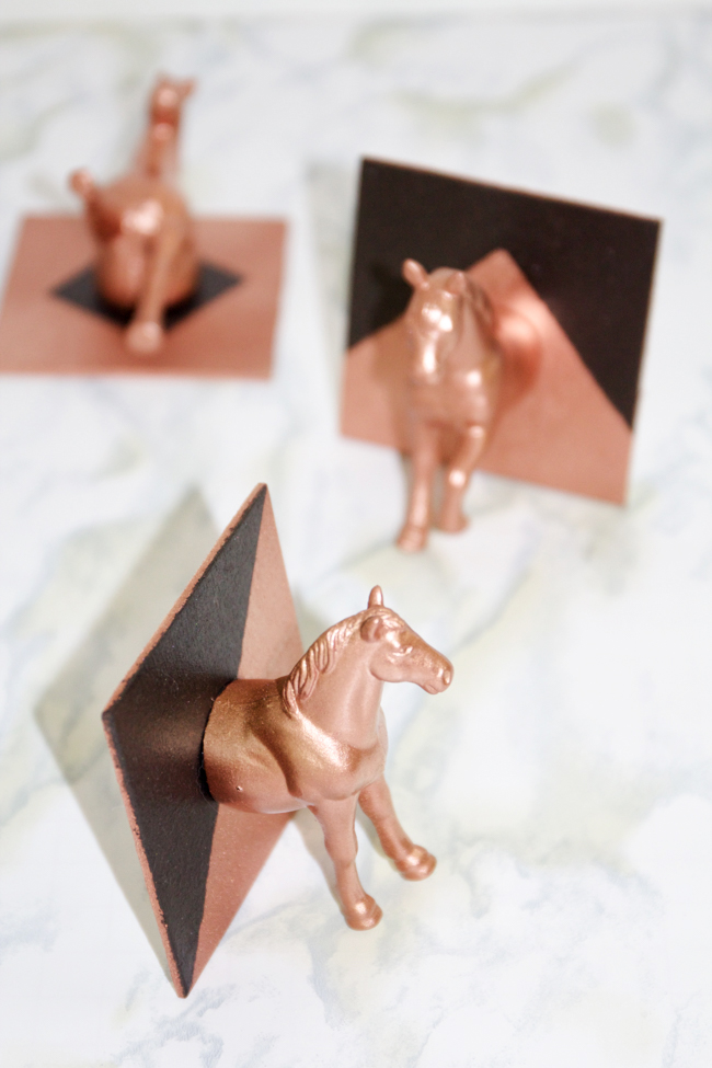 DIY copper and black horse head hat hook