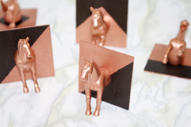 DIY copper and black horse head hat hooks