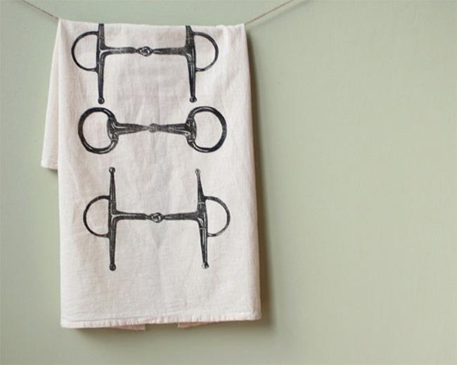 Equestrian flour sack tea towel