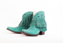 Junk Gypsy Spitfire boots in turquoise with fringe