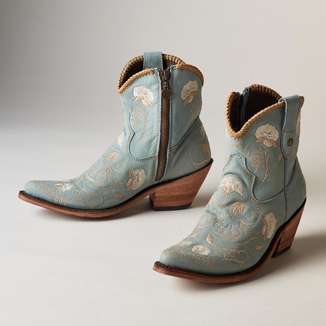 Beautiful floral embroidered ankle boots from Liberty Black.