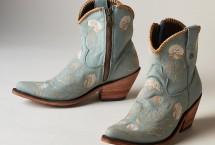 Liberty Black Cotton Flower cowboy boots in ciel