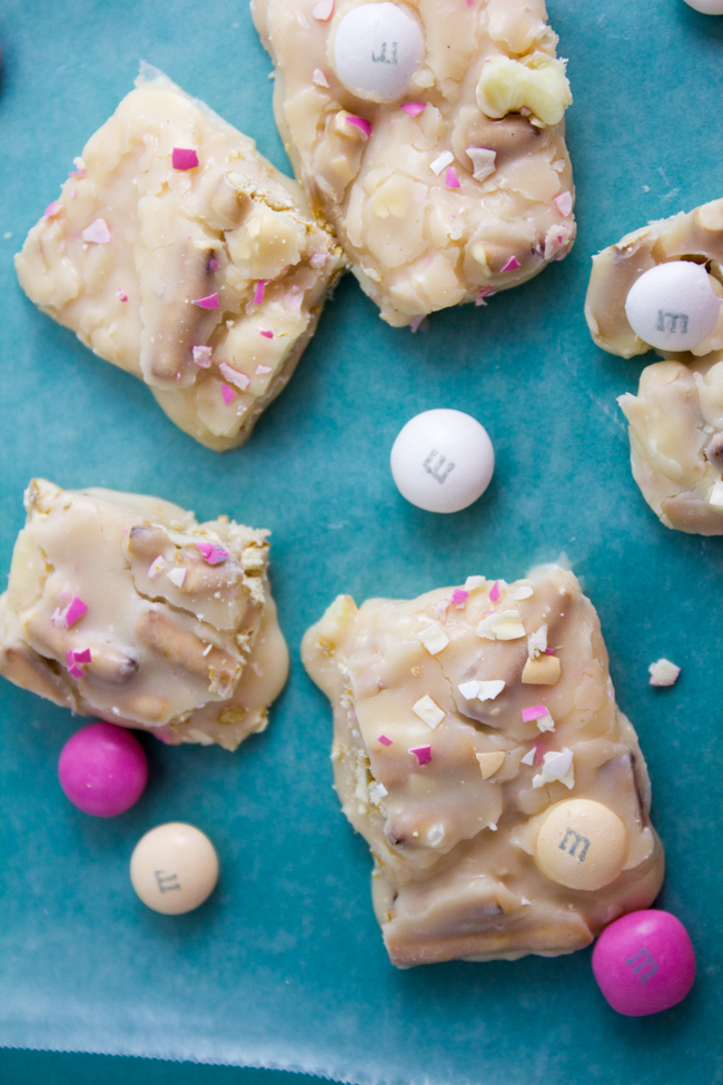 M&M White Strawberry Shortcake Fudge for Easter
