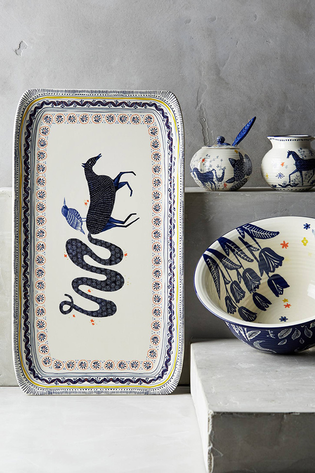 New Anthropologie Saga Side Plate ~ Bird /& Horse Collectors Design