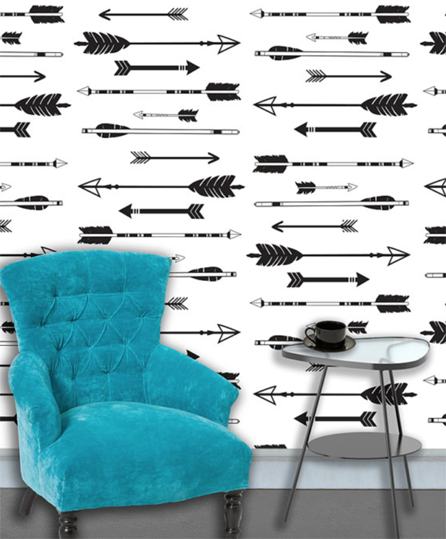 Black and white arrows peel and stick wallpaper