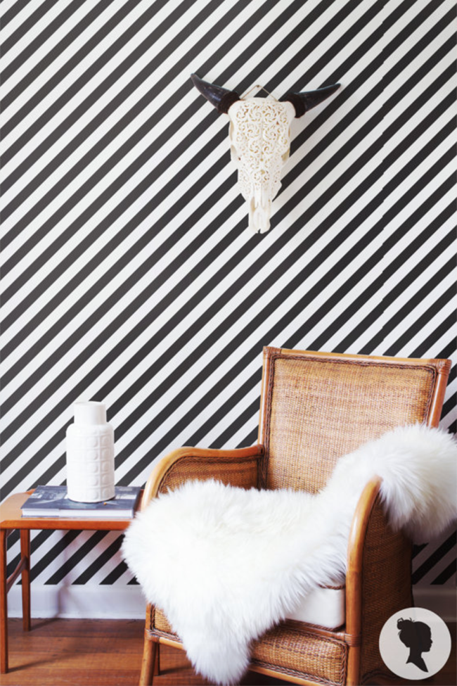 Black and white striped peel and stick wallpaper. for the home