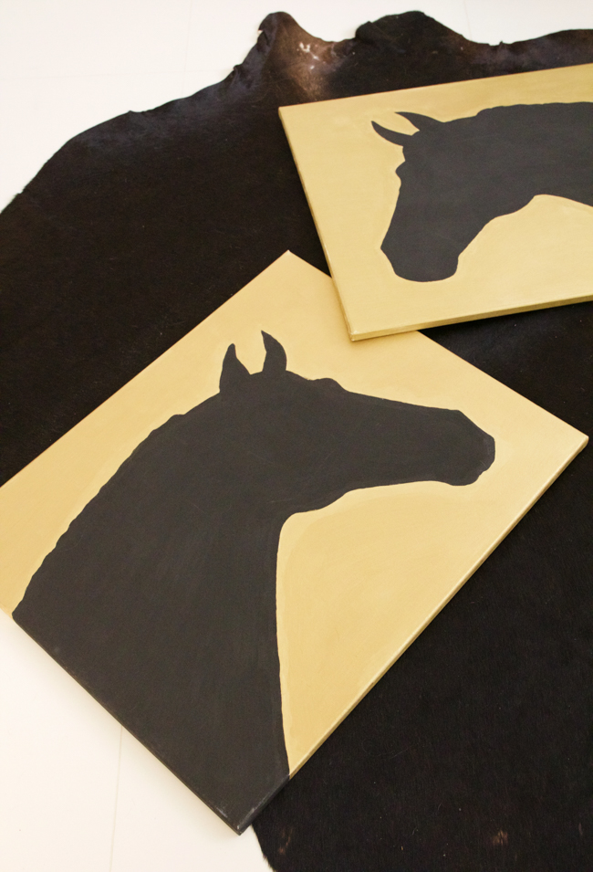 DIY gold and black silhouette horse art