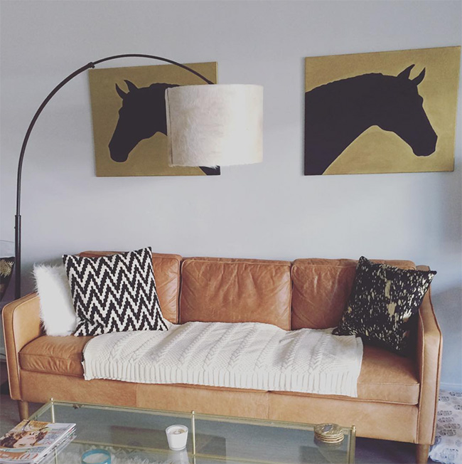 DIY horse head art, modern living room
