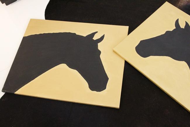 DIY silhouette horse art
